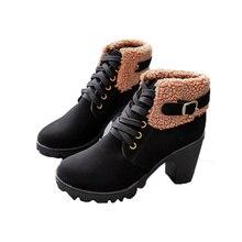 2018New Autumn Winter Womens Boots Fashion Plush Thick with Martin Head Belt Buckle Waterproof Platform Female