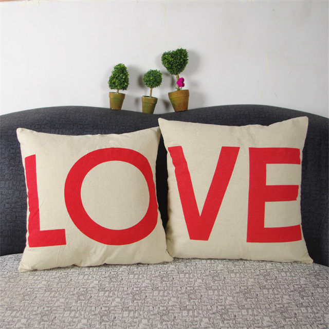 40X40 Cm Home Decor Romantic Couple Throw Pillow Covers Fashion Love Cotton Couch  Pillow Case Cushion Covers Valentine Day Gift