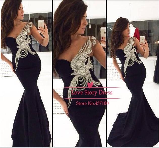 vestido de renda women party new fashion sexy crystal beading black mermaid long evening free shipping