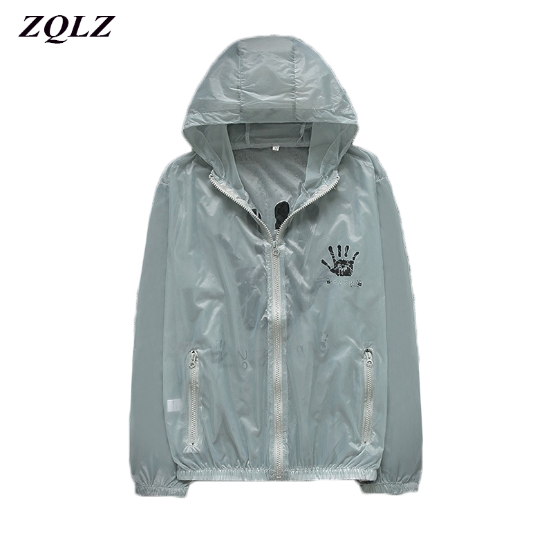 Zqlz Women   Basic     Jackets   Female Zipper Pockets Casual Long Sleeves Coats 2019 Summer Print Hooded Windbreaker   Jacket   Women