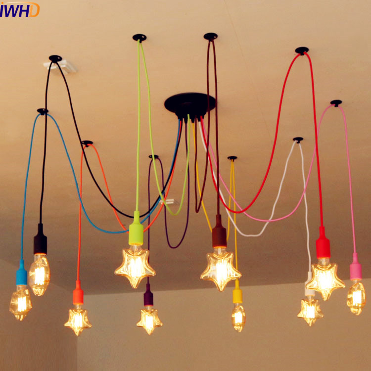 IWHD Nordic Style Modern Edison Pendant Light Fixtures Colorful Vintage Lamp Home Indoor Lighting Lamparas Hanging Lights iwhd loft style creative retro wheels droplight edison industrial vintage pendant light fixtures iron led hanging lamp lighting