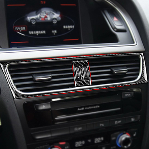 Image 4 - For Audi A4 2009 2010 2011 2012 2013 2014 2015 2016 Carbon Fiber Interior Water Cup Holder Navigation Panel Cover Sticker Trim