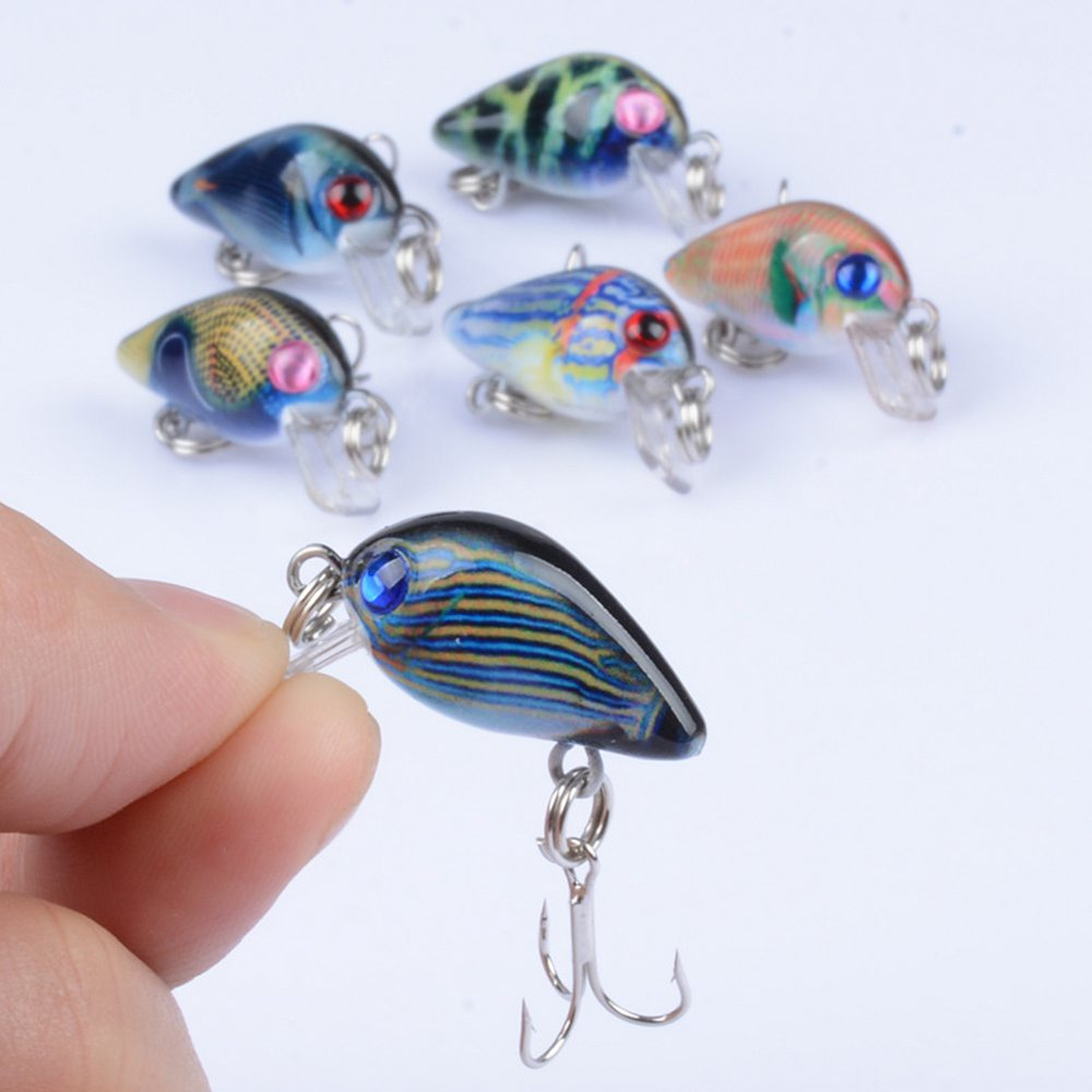 Fulljion Small Crank Fishing Lures Wobblers With Sharp Hooks for Topwater Painting Series Artificial Hard Baits Pesca 6 in 1 anti winding sharp fishing hooks 4 piece per case