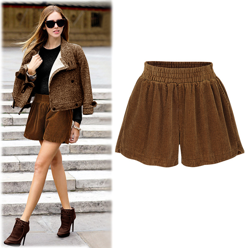 Casual high waist shorts women autumn fashion black short femme elegant winter shorts 2018 wide leg velvet shorts plue size 6XL