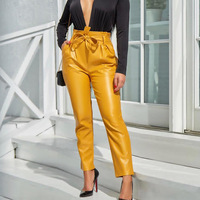 Womens High Waist Faux Leather Belted Trousers Casual Long Pants Sexy Chic Pencil Pants