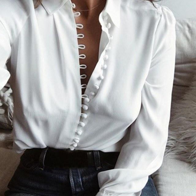 Для женщин летняя белая блузка Повседневное свободные с длинными рукавами с лацканами однобортный рубашка Осень шифон белый рубашка Топ с рюшами Camisas