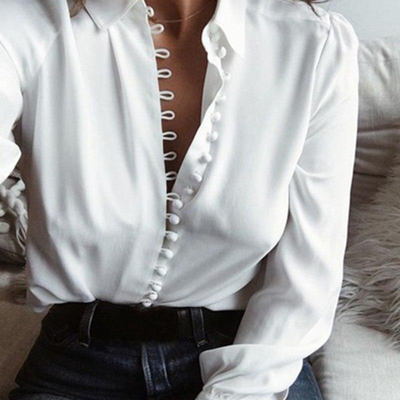 Camicetta di modo Magliette e camicette Delle Donne Femminile Elegante A Manica Lunga Nero Bianco Camicetta Camicia Casual Streetwear Cotone Button Camicetta 2018