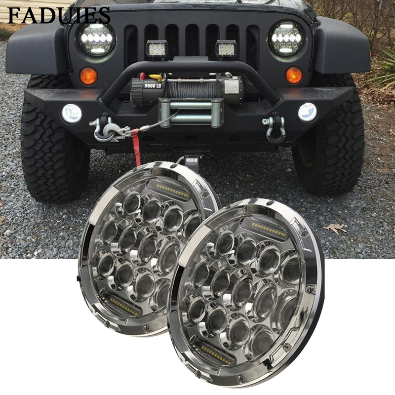 FADUIES 75W 7 Inch Round Black Led Headlights With DRL Hi/lo Beam For Jeep Wrangler Jk Tj 2007-2016 2x 7 inch round 75w led headlight drl hi lo beam black aluminum housing for jeep wrangler jk hummer