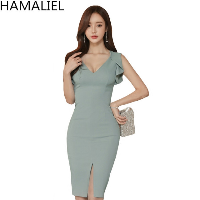 db6a1dcf HAMALIEL New Fashion Korean Sheath Pencil Dress 2018 Summer Women Blue  Sleeveless Slim Sexy V Neck Butterfly Sleeve Office Dress