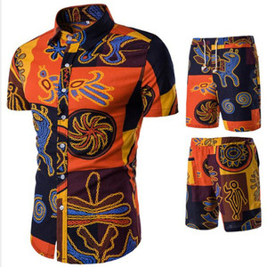 Image 5 - شورتات قصيرة بحزام للرجال مجموعة قميص زهري للربيع غير رسمي سراويل قصيرة مربوطة قمصان مزهرة بأكمام قصيرة مع سراويل قصيرة M 5XL