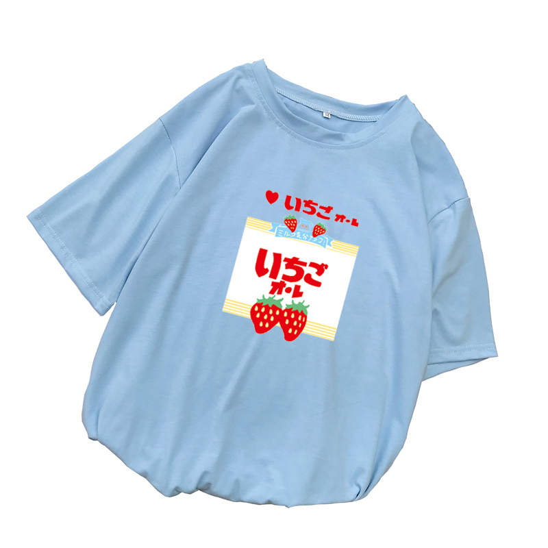 Summer Women Short Sleeve T Shirt Casual Kawaii Funny Strawberry Printed O-Neck Tshirt Female Loose Harajuku streetwear Tee Tops