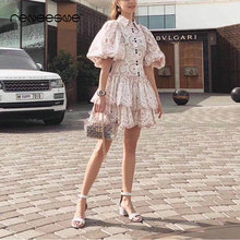 2019 fashion women dress hollow out turn down collar puff sleeve solid bohemian summer ladies dresses mini button solid vestidos