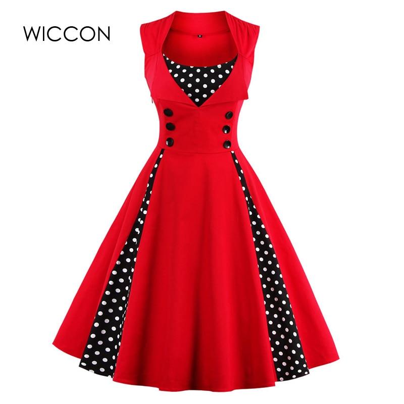 WICCON Vintage Sweet Women Dress Ärmlös Polka Dot 2018Summer Party - Damkläder - Foto 6