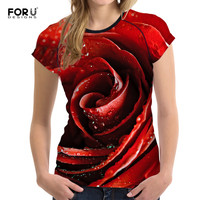 FORUDESIGNS Brand T Shirt Rose Harajuku T Shirt Women 2017 Summer Casual Short Sleeve TShirt Red