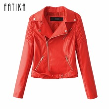 FATIKA 2017 New Fashion Autumn Winter Women Faux Leather Jackets Zipper Short Design Turn-Down Collar Motorcycle Outwear
