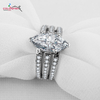 Solid Silver Engagement Ring 3 Carat Marquise Cut AAAAA CZ Diamond Rings For Women Luxury Accessories