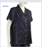 New Arrival Pure Gambiered Guangdong Silk Lady Print Shirt 100 Silk Turn Down Collar Short Sleeve
