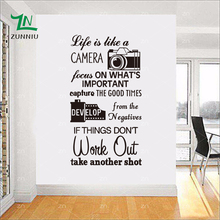 ZN LIFE IS LIKE A CAMERA Quotes Home Living Room Bedroom Decoration Decals Vinyl Wall Art