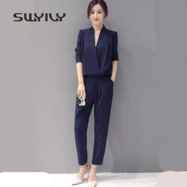 d61c987b72a514 SWYIVY damskie kombinezon spodnie o długości do kostek spodnie odpinany  2018 szczupła kobiet wygodne spodnie duży