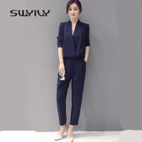 SWYIVY Women's Jumpsuit Ankle Length Pants Detachable 2018 Slim Female Leisure Trousers Big Size Womans Bodysuits Long Sleeve