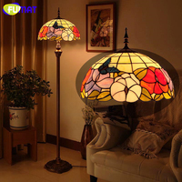 FUMAT Tiffany Glass Floor Lights Pastoral Home Decor Butterfly & Flowers Shade Floor Lamp For Living Room LED Bedside Lights