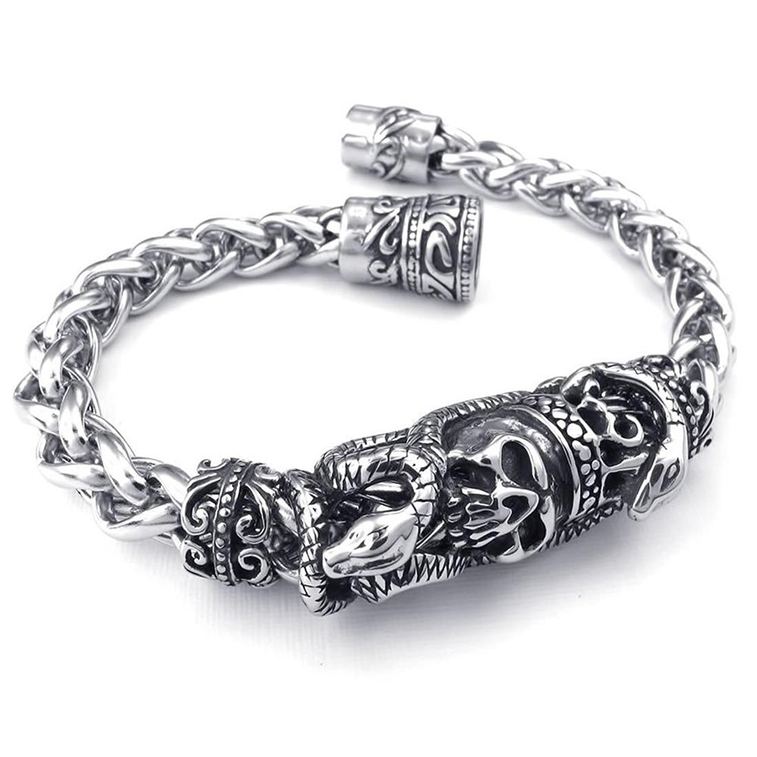 Man Biker Gothic Snake Serpent Skull Skull Stainless Steel font b Jewelry b font Bracelet Silver