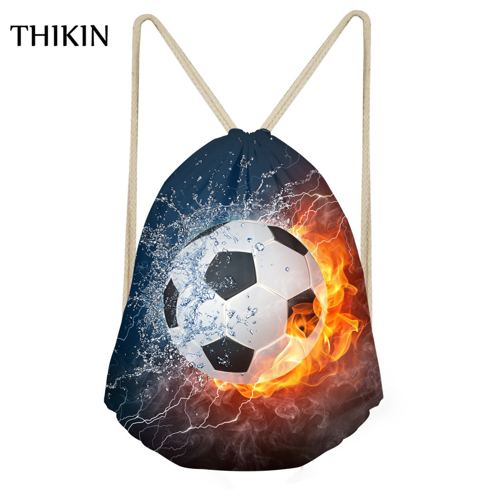 THIKIN 3D Cool Football Printed Swimming Bags 2019 Men Draw-string Causal Boys Sports Bag Students Backpacks Bolsa Praia