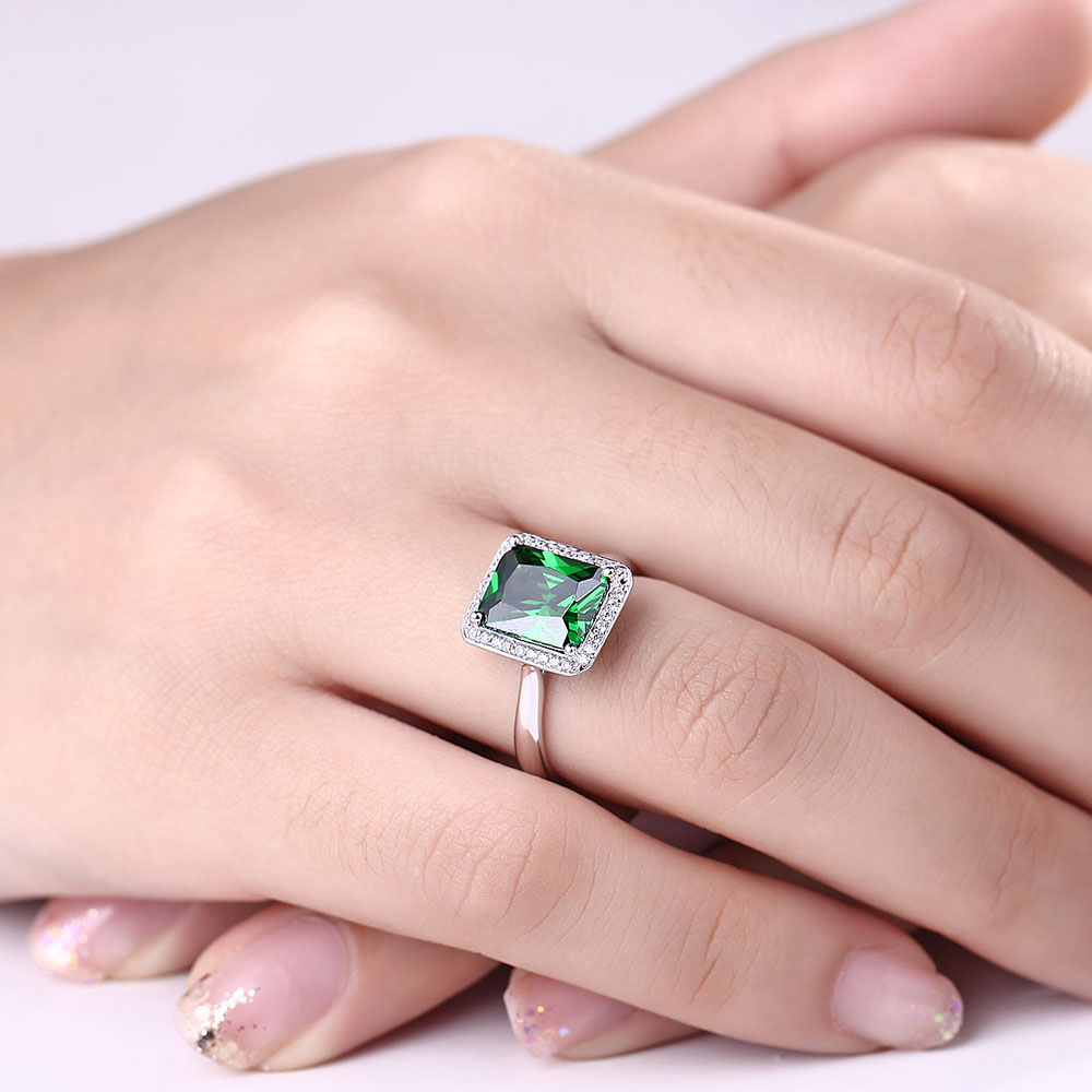 DOUBLE R Created Emerald Gemstone 925 Sterling Silver Ring ...
