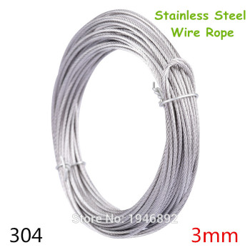 10m/lot 3mm High Stainless Steel Wire Rope Tensile Diameter 7X7 Structure Cable Gray