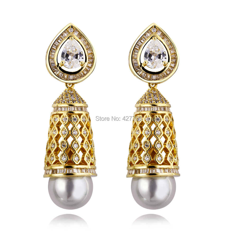 Free shipment Earrings for women prong setting white cz big Drop Earrings copper vintage jewelry new arrival