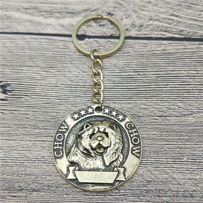 Elfin Vintage Chow Chow Keychains Antique Silver Antique Bronze Chow Chow Key Chains Keyrings Pet Dog Jewellery