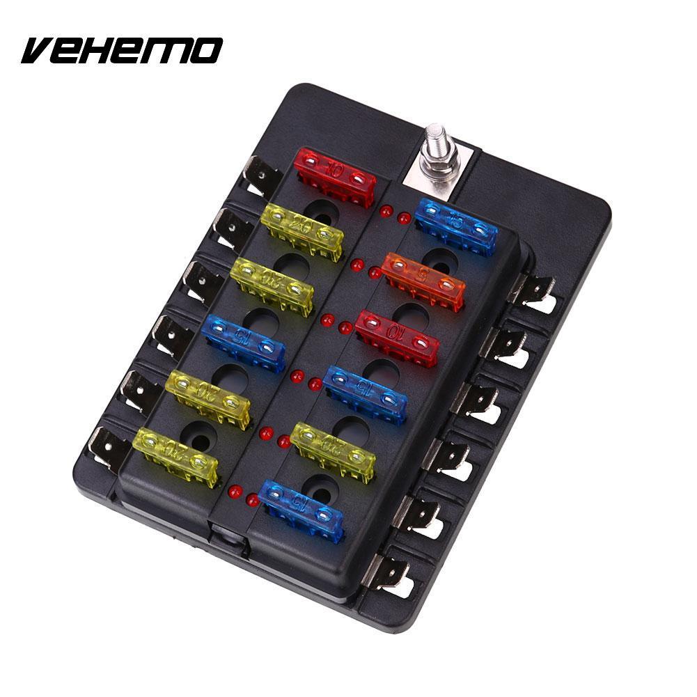 Vehemo Fuse Box 12Way Indicator Light PC Wiring Terminal Fuse Kit Safety ABS Black