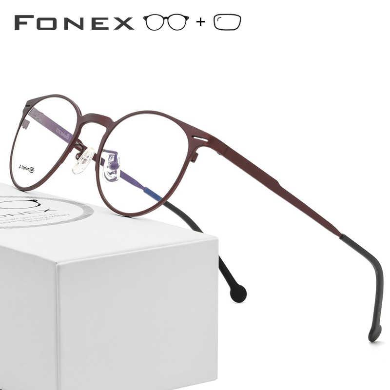 a8f1c414f B Pure Titanium Prescription Glasses Men Women High Quality Prescription  Eyeglasses 2018 Round Optical Myopia Frame