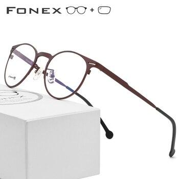 2148d2ef22 B gafas de titanio puro con prescripción para hombres y mujeres gafas de alta  calidad 2018 gafas redondas de montura de miopía 7705