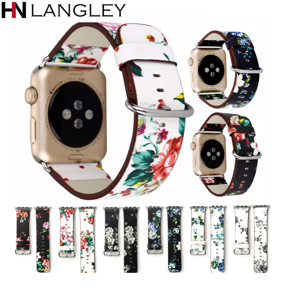 Leather Watch Band for Apple Watch Band 38mm 42mm Flower Floral Prints Women Ladies Fashion Dress Bracelet Strap For Apple Watch