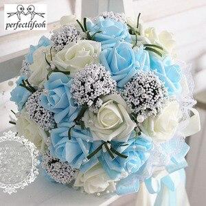 Image 2 - Ручной Букет невесты perfectlifeoh, свадебный букет ручной работы, имитация цветов, шарики, свадебные цветы для фотографии