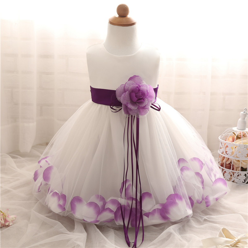 1d6354cce9e Summer Floral Baby Dress For Wedding Party Sleeveless Rose Petal Hem  Christening 1 Years Toddler Girl Birthday Baptism Clothes-in Dresses from  Mother   Kids ...