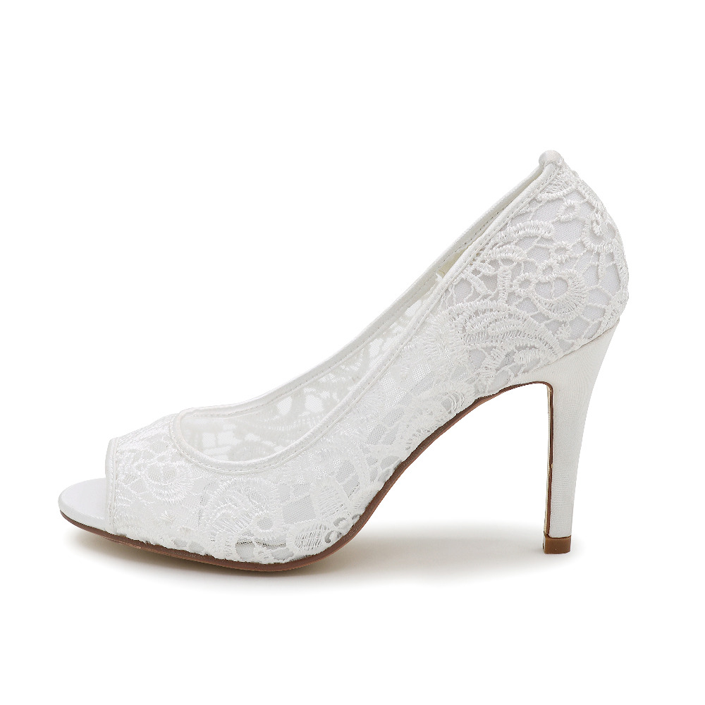 Creativesugar Elegant lace see through breathable mesh open peep toe woman  pumps bridal wedding party dress shoes ivory white -in Women s Pumps from  Shoes ... 50ddbc22db5b