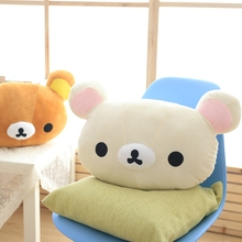 GGS 50*30cm Cartoon Rilakkuma Plush Pillow Stuffed Soft Brown Relax Bear Plush Toy Cute Relax Bear Sofa pillow Children's Gift