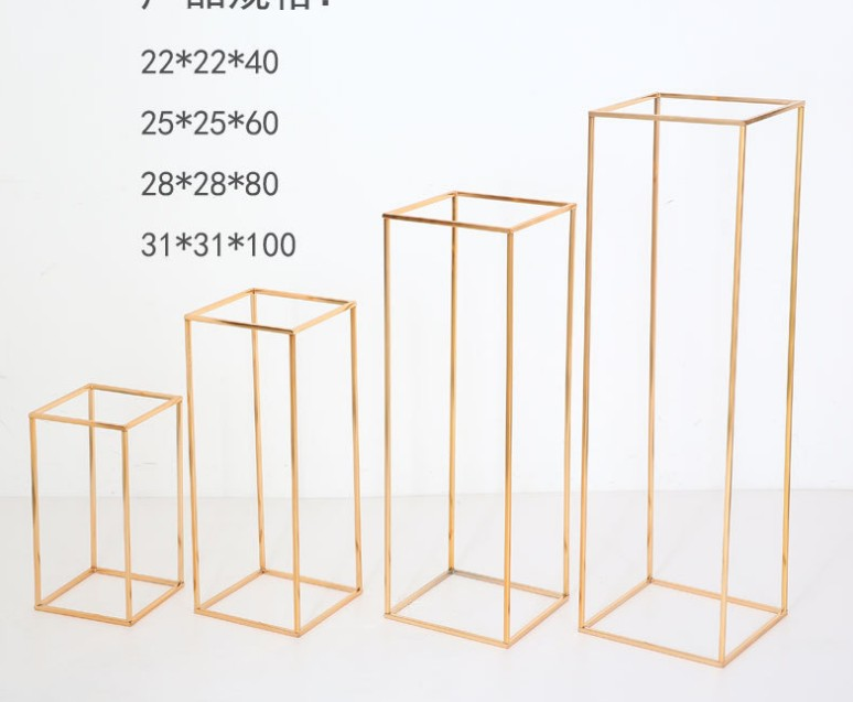 10pcs Wedding grand event stage backdrops flower road lead rack Gold Flower Vase Column metal Stand for Wedding Centerpieces