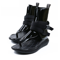 New flipflops Women Gladiator Thong Sandals Patent leather Flat Heels Summer Shoes women Ankle Strap Buckled Platform beach Shoe