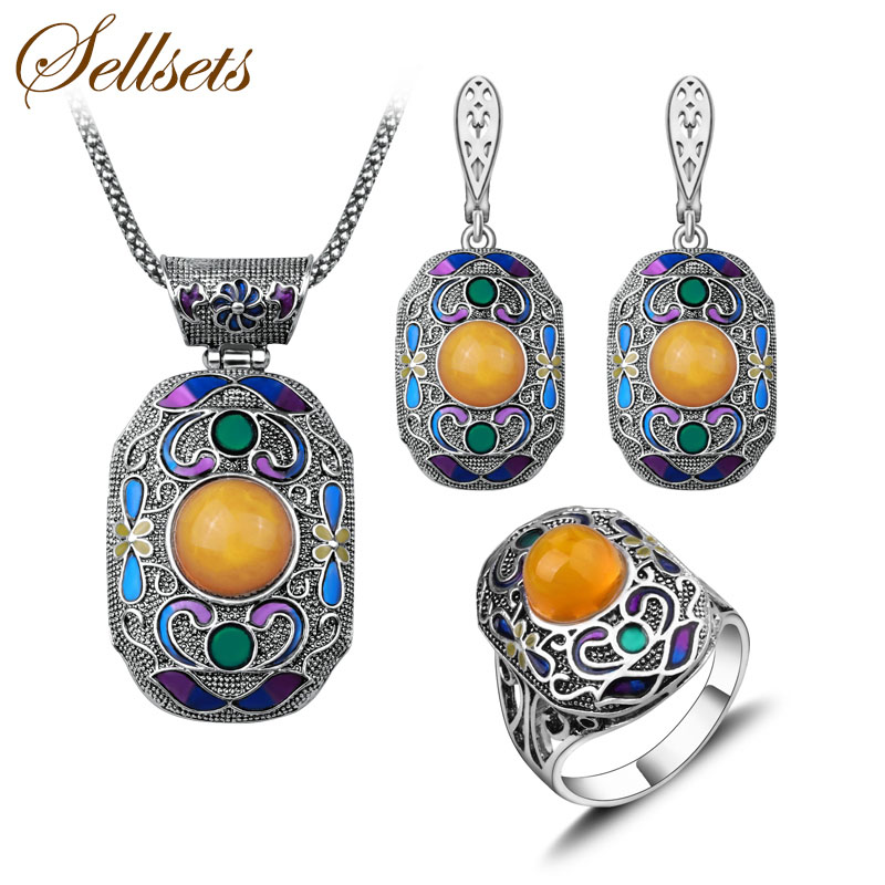 Sellsets Antique Silver Color Turkish Jewelry Set Fashion Enamel And Resin Vintage Ethnic Jewellery Sets For