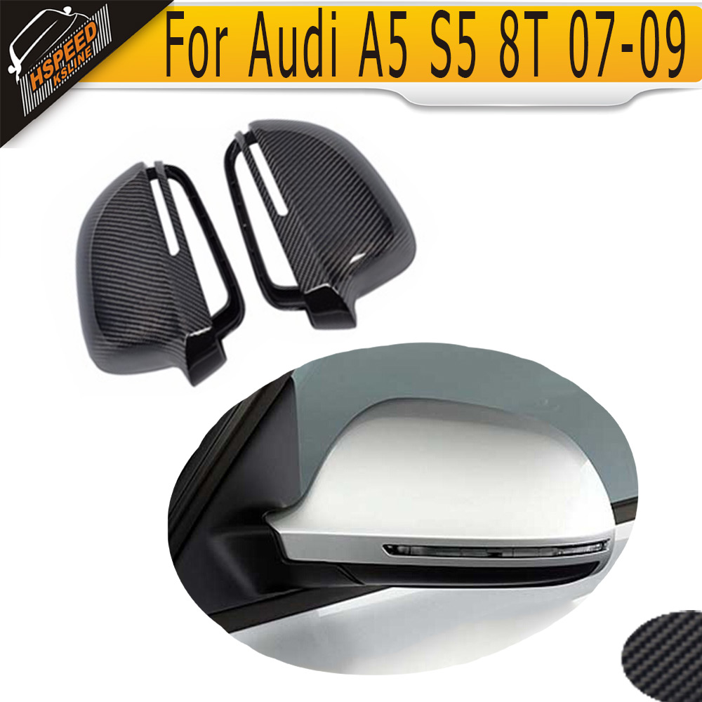 Carbon Fiber Mirror Cover Caps For Audi A5 S5 8T 07-09 without side assist