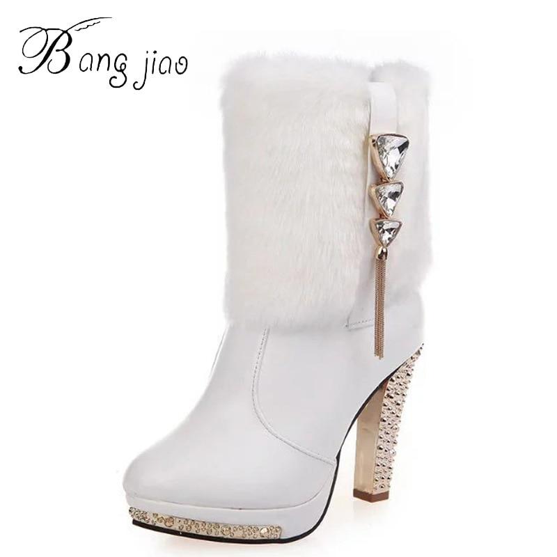 Chic Women/'s Winter Buckle Fur Trim Warm Ankle Boots Pumps High Heels Plus Size