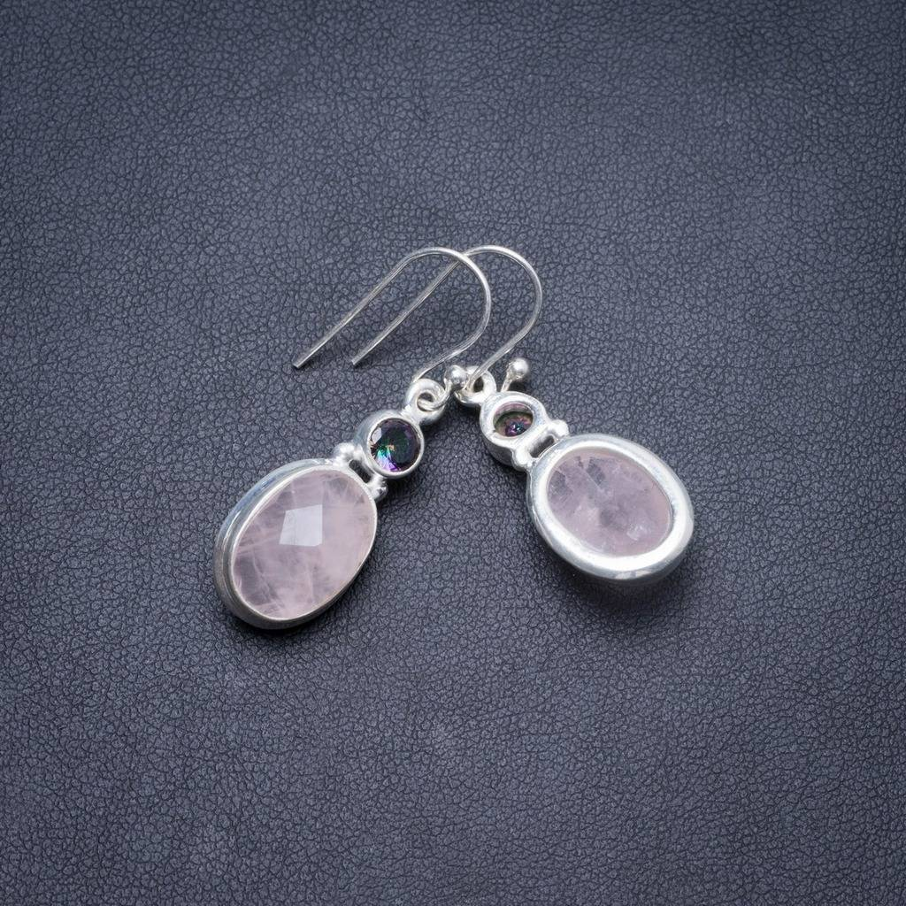Natural Rose Quartz and Mystical Topaz Handmade Unique 925 Sterling Silver Earrings 1.5