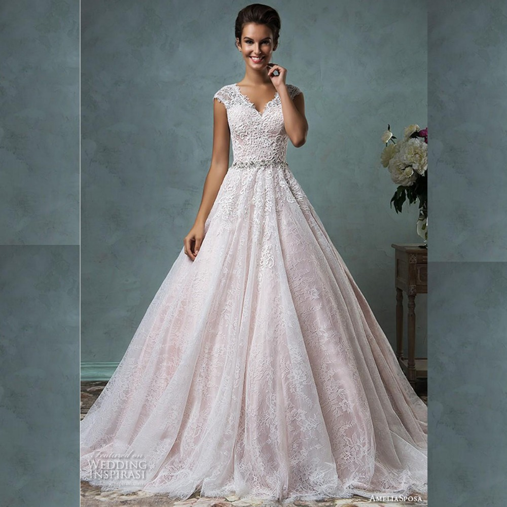 2016 wedding dresses blush pink cap sleeves gorgeous a for Pink vintage wedding dress