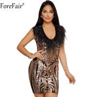 ForeFair Sequined Xem Qua Lưới Sexy Club Đảng Dress Đen Đỏ Champagne Không Tay V-Cổ Tua Bodycon Dress