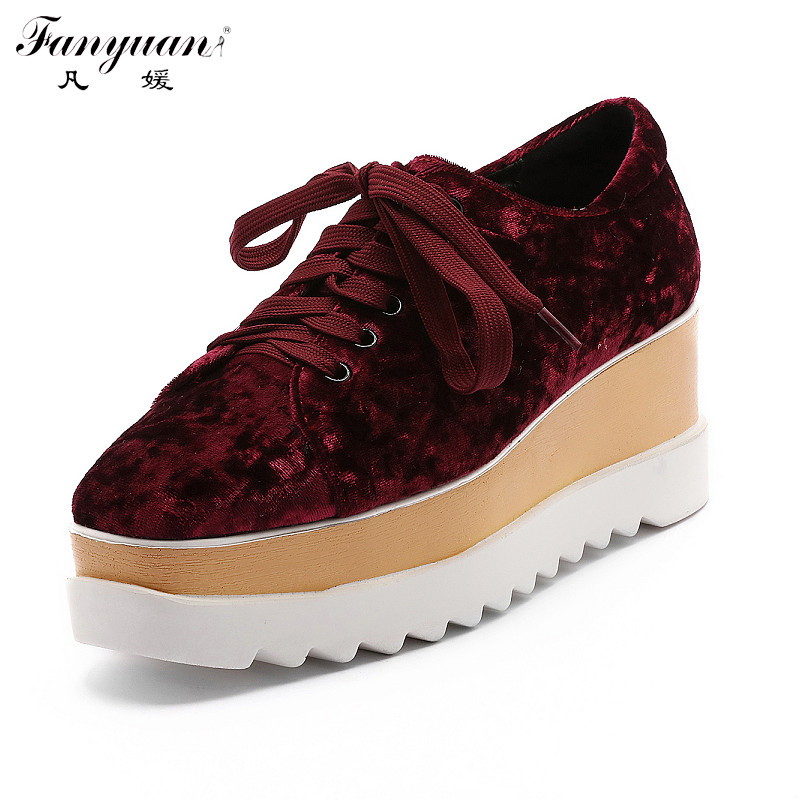 ФОТО Fanyuan Faux Suede Pumps Women Casual Shoes Lace Up Med Heels Platform Wedges Shoe 2017 Spring Autumn Student Plus Size Red Pump