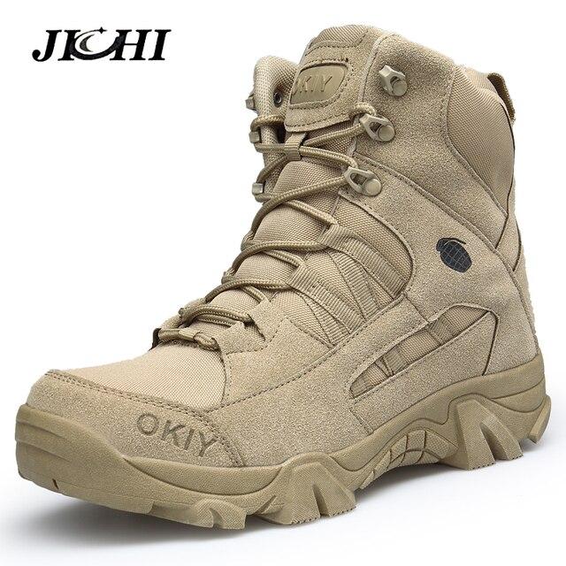 Asker botu Askeri Çizmeler Erkek Taktik Çizmeler Zip Ordu Taktik Çöl Savaş Botları Güvenlik Ayakkabı Kar Deri Kış Sonbahar Kahverengi
