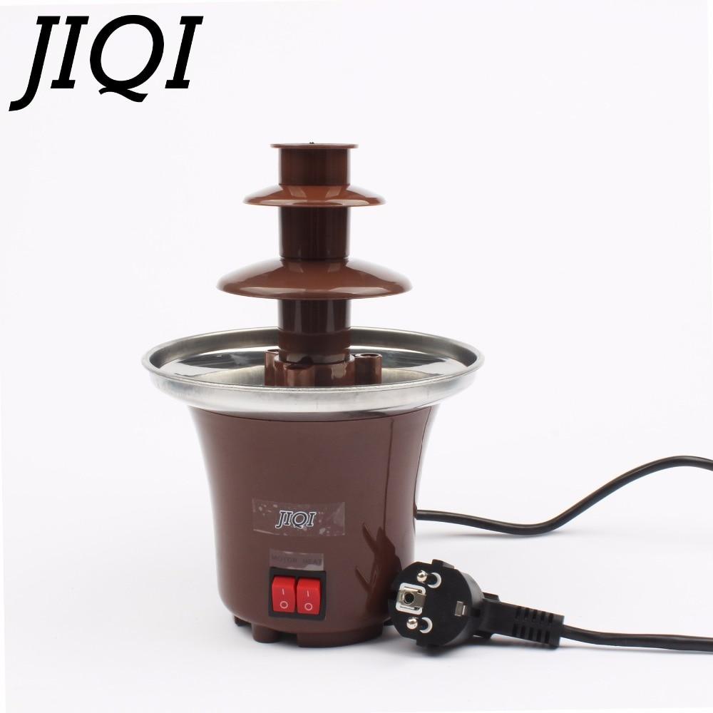 JIQI Household DIY 3-tier chocolate fountain fondue mini Choco waterfall machine three layers Children Birthday heat melts EU US